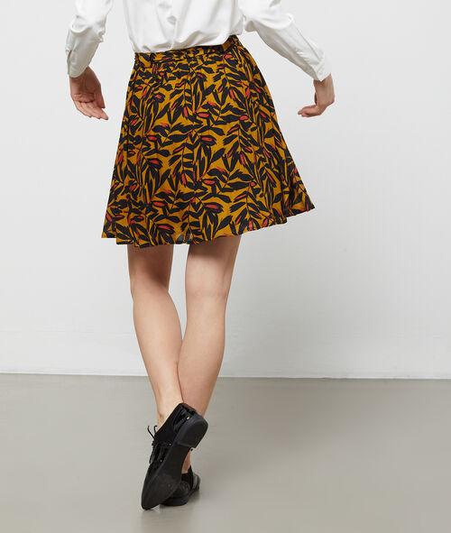 Vegetal print skater skirt