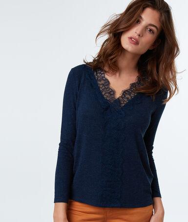 Lace neckline top navy blue.