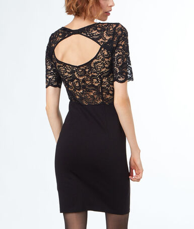 Dress laced back and sleeves black.