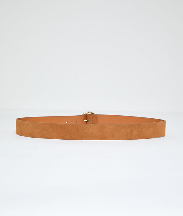 Split leather belt with round buckle