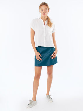 Leather effect skirt teal.