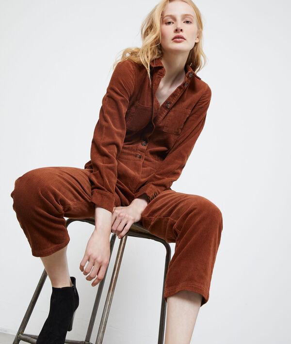 Cord jumpsuit meets work overalls
