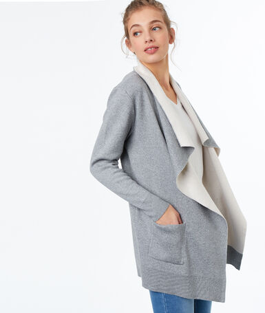 Long double-breasted cardigan light gray.