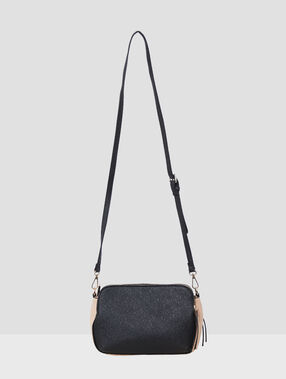 Two-tone messenger bag black.