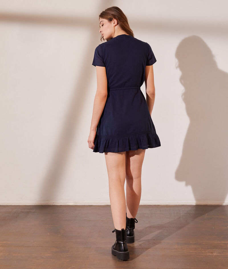 Belted shirt dress with lace details