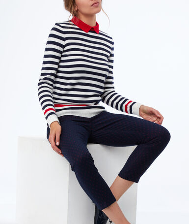 Striped shirt collar sweater ecru.