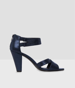 High-heel sandals navy blue.
