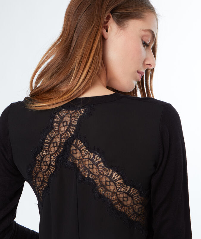 Jumper with lace panel black.
