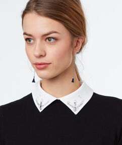 Cotton sweater with shirt collar black.