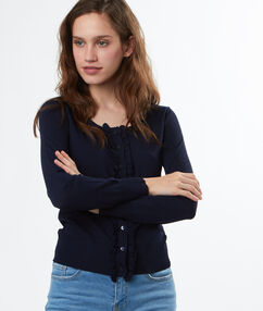 Ruffled cardigan navy blue.