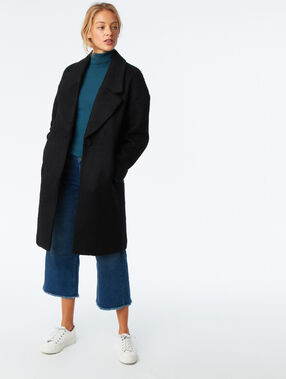 Wool blend oversize coat black.