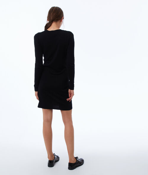 Long sleeve jumper dress with V-neck
