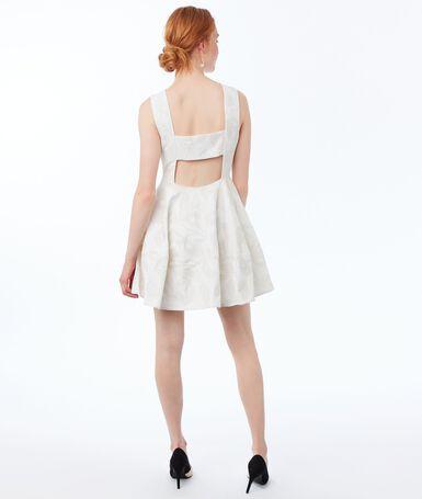 Plunge-back dress ecru.