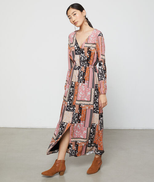 Dress in patchwork floral print