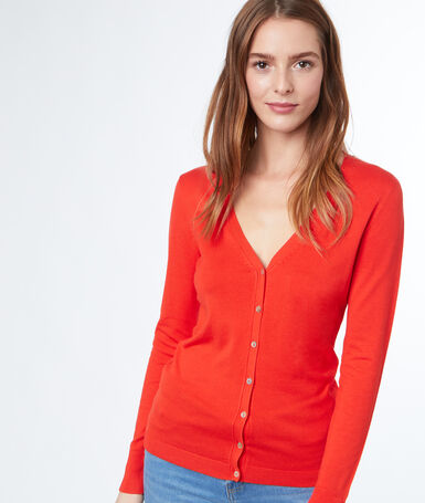 Long-sleeved cardigan orange.