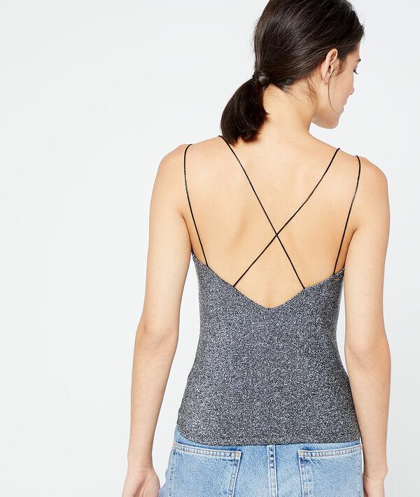 Crossed back top in metallic threads