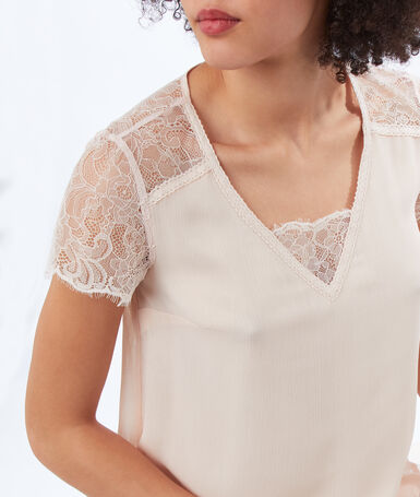 Top with lace panel nude.