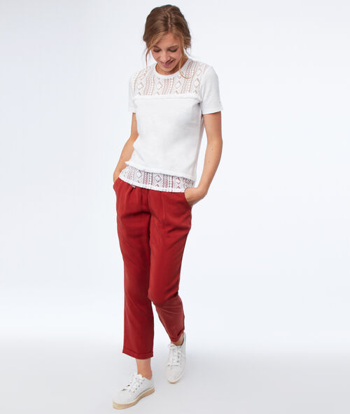 Tencel® carrot pants with belt