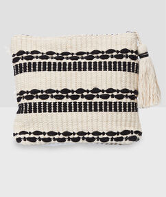 Cotton two-tone wash bag with tassel ecru.
