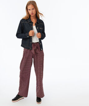 Wide striped pants blue/red.