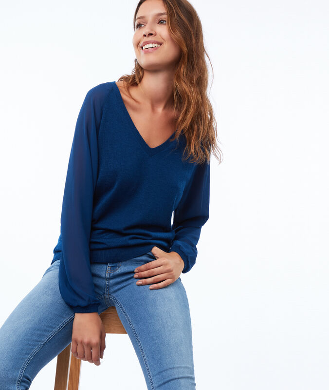 V-neck jumper with sheer sleeves blue.