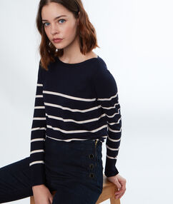 Stripy wide-necked jumper navy blue.