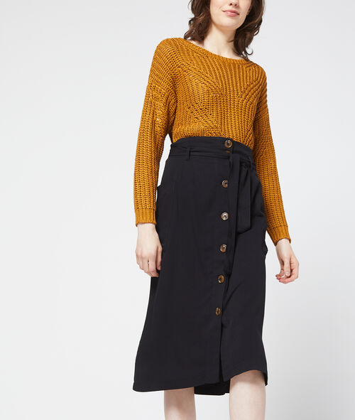 Midi skirt with button detail