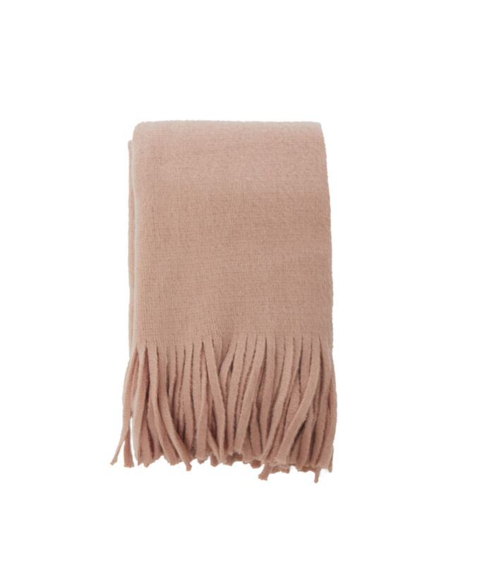 Scarf with tassels pale pink.