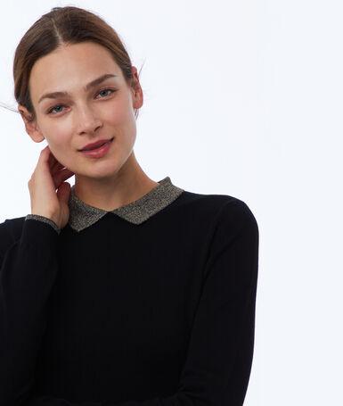 Robe pull col chemise noir.