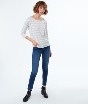 Striped 3/4 sleeves t-shirt ecru.