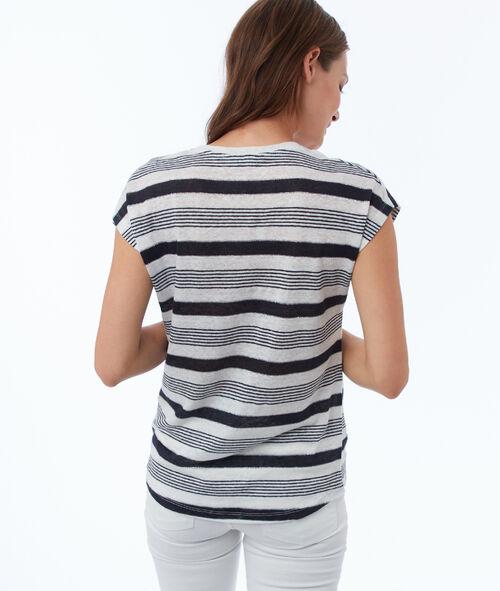 Mixed linen striped T-shirt