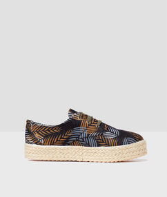 Leaf print trainers navy blue.