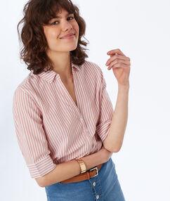 Striped cotton blouse pale pink.