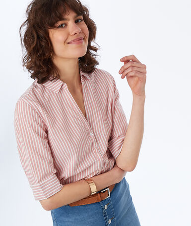 Striped cotton blouse pale pink.