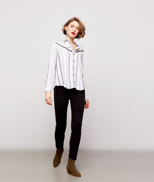Stripe shirt with lace panel