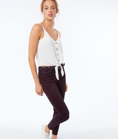 Slim pants with coated effect