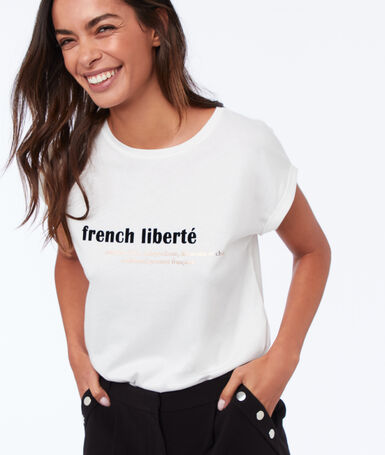 Printed round-neck t-shirt ecru.