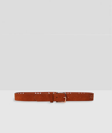 Leather belt with small studs barley.