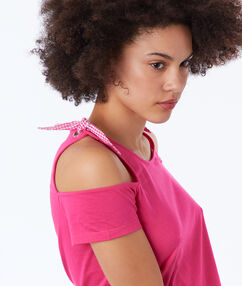 Cotton bare-shoulder t-shirt with bows fuchsia.