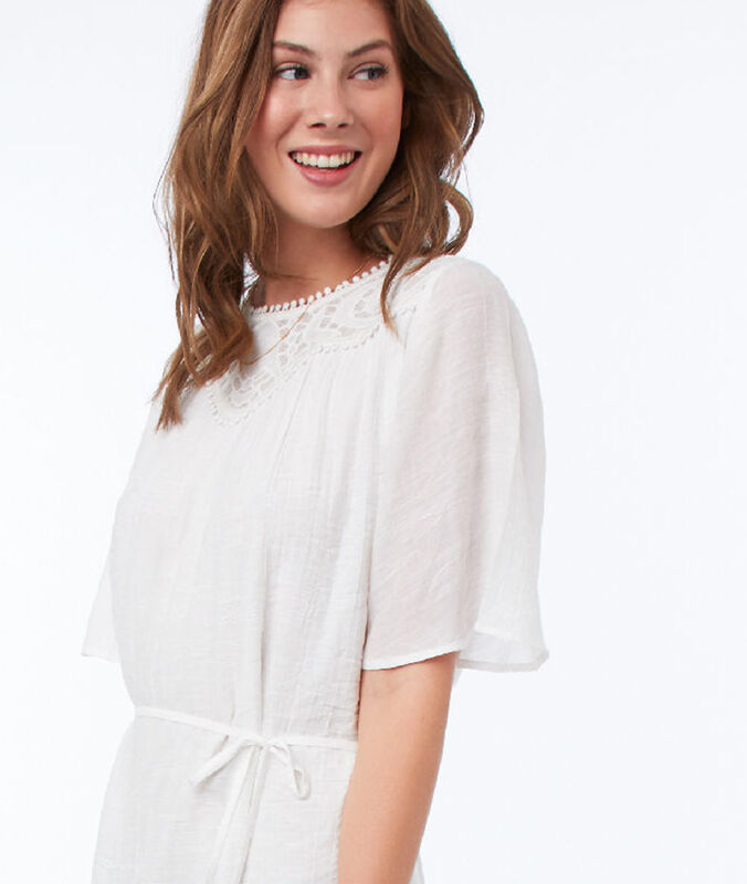 Belted dress with lace panel ecru.