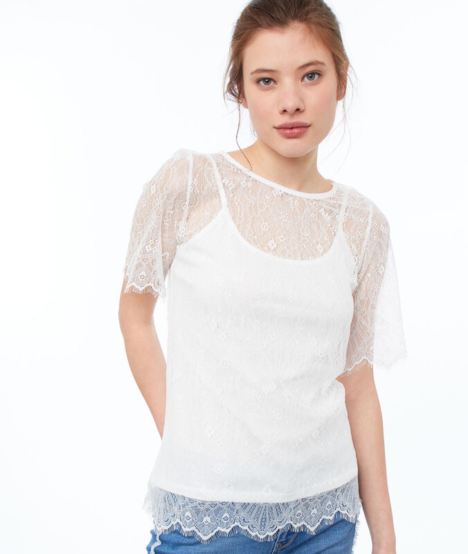 Cutwork top off-white.