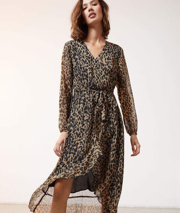 Robe Longue Imprime Leopard Cannelle Etam