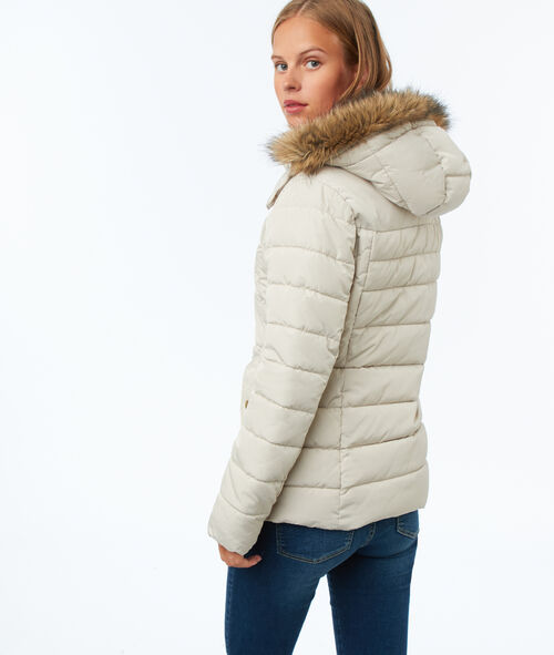 Puffer jacket with faux fur hood