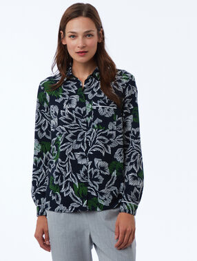 Printed blouse navy blue.