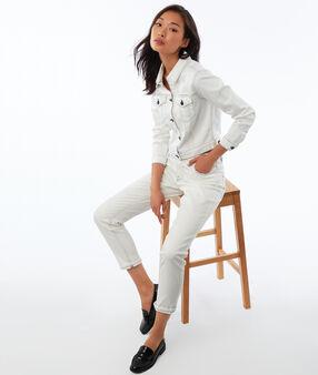 Denim jacket with contrast tipping ecru.