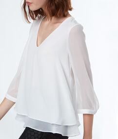 Blouse with bow back off white.