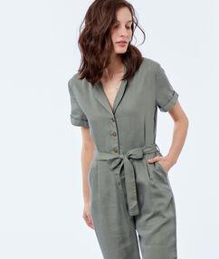 Belted jumpsuit khaki.