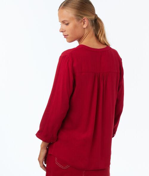 Plain 3/4-length sleeve blouse