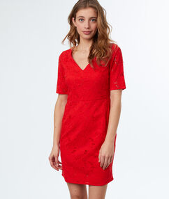 Lace dress red.