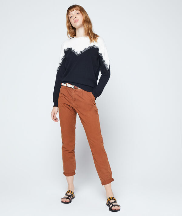 Jumper with guipure details